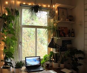 plants, bedroom, and desk image