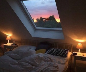 room, bed, and window image