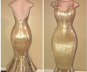 gold dress, mermaid, and sequins image