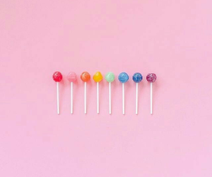 pink, lollipop, and rainbow image