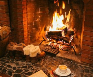 fireplace, book, and fire image