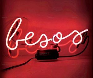 kisses, lights, and neon image