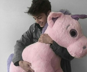 black hair, plushie, and unicorn image