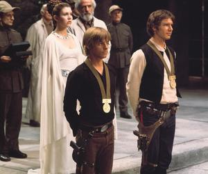 han solo, luke skywalker, and star wars image