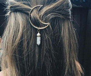 hair, moon, and accessories image