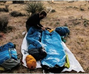 backpacking, sleeping bag, and backpacking sleeping image