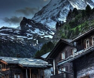 mountains, house, and snow image