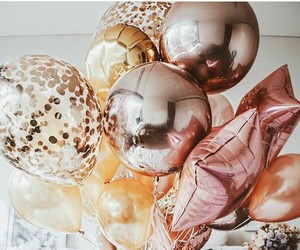 balloons, party, and gold image