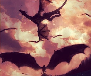 dark, dragons, and sky image