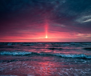 sunset, sea, and beach image