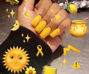 acrylic, nails, and yellow image