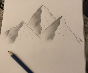 drawing, mountain, and pencil image
