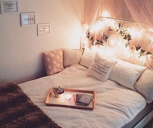 bed, lights, and blankets image