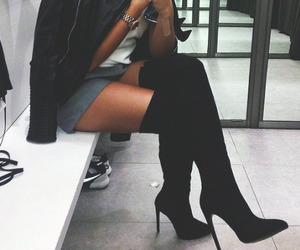 black, high boots, and style image