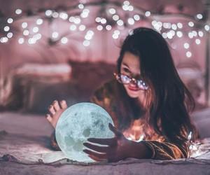 lights, girl, and moon image