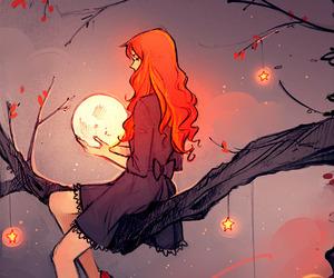 girl, moon, and stars image