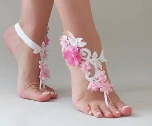 wedding barefoot, lace barefoot, and etsy image