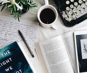 book, coffee, and goals image