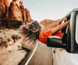 travel, girl, and car image