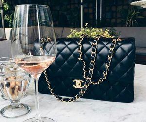chanel, bag, and wine image