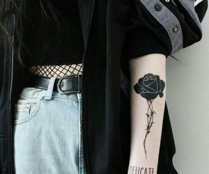 black, black rose, and girls image