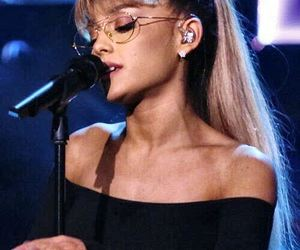 ariana grande, blue high waisted jeans, and gold aviator glasses image
