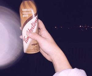 cappuccino, nails, and timhortons image