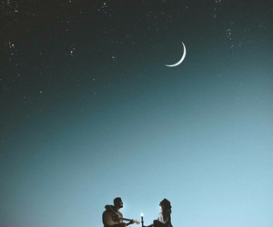 moon, night, and couple image