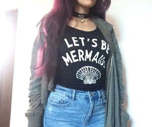hair, purple hair, and the mermaid image