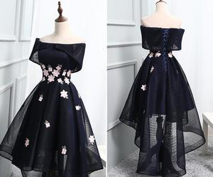 a-line, prom dress, and high-low image