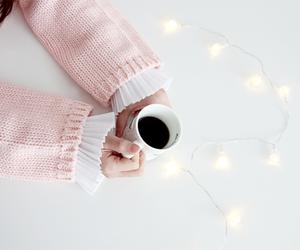 coffe, girl, and light image