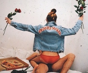 pizza, roses, and vintage image