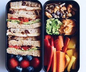 lunch, lunch box, and sandwich image