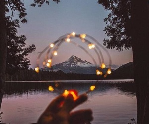 lights, mountain, and photography image