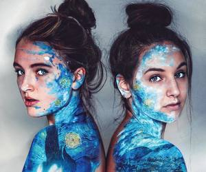 art, girls, and blue image