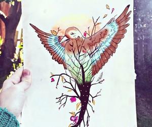 art, bird, and doubleexposure image