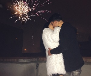 boyfriend, couple, and fireworks image