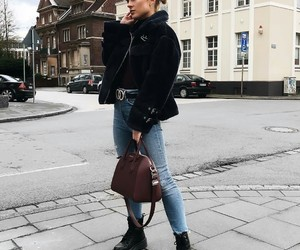 black coat, jeans, and poloneck image