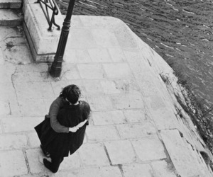 couple, hug, and black and white image
