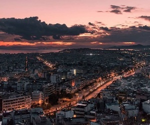 Athens, city, and city lights image