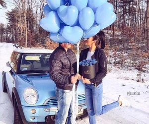 couple, blue, and snow image