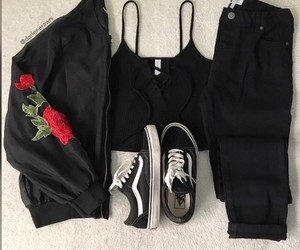 outfit, roses, and crop top image