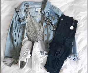 jeans jacket, outfit, and outfit ideas image