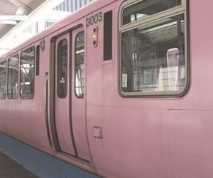 aesthetic, pink, and train image