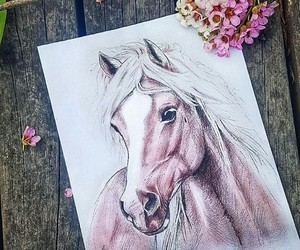 art, horse, and painting image