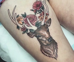 tattoo, flowers, and deer image