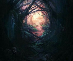 forest, dark, and art image