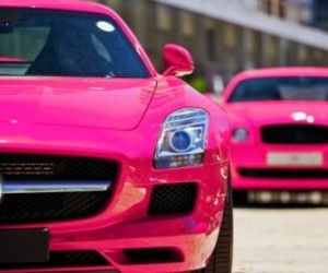 car, pink, and mercedes image