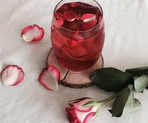 drink, rose, and red image