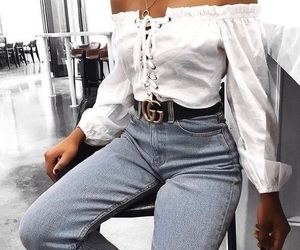aesthetic, gucci belt, and jeans image